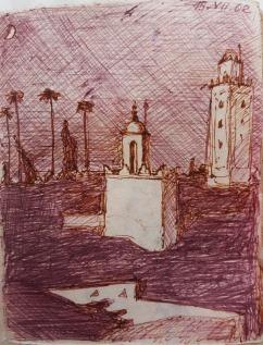 Brezza fresca sotto la luna crescente nel variopinto vocio di Marrakesh